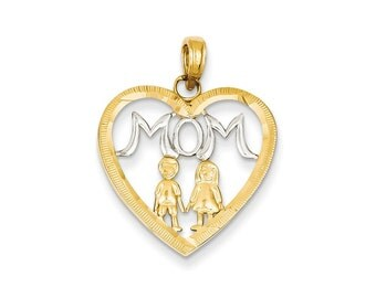 14k Gold and Rhodium Mom w/Kids Heart Pendant