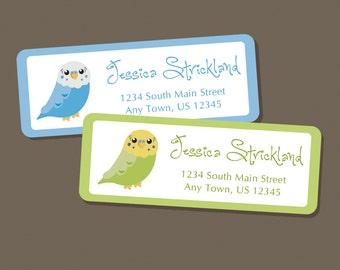 Budgie Address Labels, Return Address Labels, Address Stickers, Budgie Labels, Personalized Address Labels, Parakeet, Green, Blue, Bird, Pet