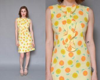 60s Mod Mini Dress Yellow Daisy Dress XS S Yellow Pastel Flower Power Floral Print Ruffle Collar Twiggy Sleeveless Shift Dress