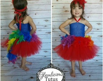 Parrot Tutu Dress | Feather  tutu dress| Halloween Costume | Newborn-6/7 child listing | OTT dress