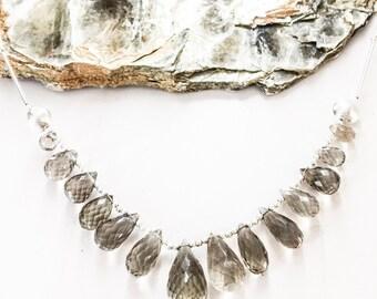 Smoky Quartz Teardrop Silver Bar Necklace