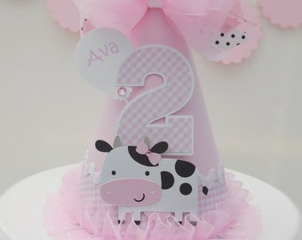 Lil' Cow Barnyard Cutie Pink Gingham, Pink and White Birthday Party Hat - Personalized - Farm Party, Cowgirl Party