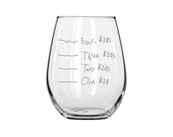 Stemless Mother's Helper by Caloric Cuvee: The kid counting wine glass - funny wine glass - baby shower gift