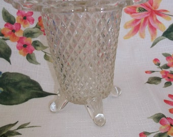 Imperial Glass 4 Footed Laced Edge Vase Crystal
