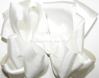 Silk Hair Bow, Off White Ivory Satin Ribbon, Girls Baby Toddler Bridal Party Hair Clip, Pageant 4 Inch Bows, Dressy Fancy Alligator Clips