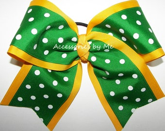 Bulk Cheer Bow, Gold Green Dance Bow, Yellow Gold Green Cheerleader Bows, Volleyball Bow, Softball Bows, Green Yellow Cheap 7 Inch Cheerbows