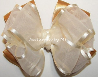 Girls Hairbow, Ivory Gold Hair Bow, Organza Satin Ribbon Barrette Clip, Toddler Baby Accessories, Dressy Wedding, Princess 1st Party Clips