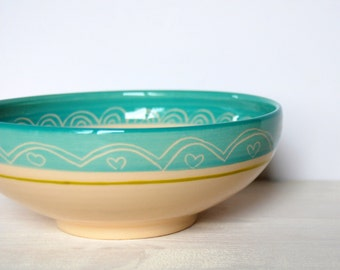 Ceramic bowl Pottery bowl Breakfast bowl Serving bowl One of a kind bowl Turquoise bowl Small bowl Ceramic and pottery Polka dot bowl gift