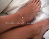 SALE Sweet Heart Anklet,  Gold Heart Anklet, Valentine's Day Gift, Silver Anklet, Heart Charm, Personalized Jewelry