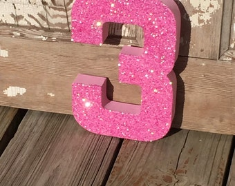 Pink Glitter Stand Up Decorative Birthday Numbers, Graduation, Wedding Reception Table Numbers, Photo Prop