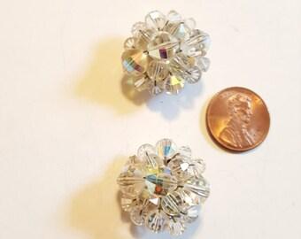 Vintage Crystal Rhinestone Clip On Earrings