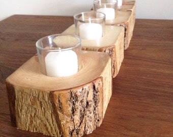 Natural-edge Barn Wood Candle Holders (candle included!)