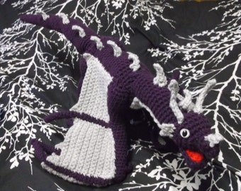 crochet purple dragon amigurumi, winged dragon, crochet dragon,gray and purple dragon toy, ready to ship