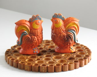 Vintage Chicken Salt and Pepper Shakers /orange blue plastic roosters / 1970s boho kitchen decor / chicken lover gift