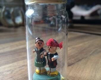 Little Wooden Man & Woman in Tiny Glass Jar / Bottle