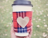Gifts for Women. Coffee Cup Cozy.  Plaid Coffee Cozie. Coffee Holder. Coffee Sleeve. Stocking Stuffer. Cup Cozy