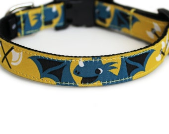Vikings Dog Collar, Cute Dog Collar, Yellow, Quick Release, Small Dog Collar, Dragons, Boy Dog Collar - Little Viking Dog Collar