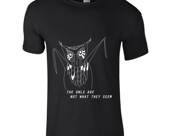 Twin peaks t shirt, owls are not what they seem, boyfriend gift, quirky owl shirt, cult tv series