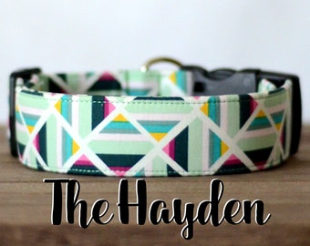 "Mint, Pink & Turquoise Geometric  Dog Collar ""The Hayden"""