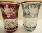 Antique Gold Rim Crystal Cut to Clear Tumblers or Highball Glasses - Set of 2 -Aqua & Amethyst Purple - Art Deco - Hollywood Regency