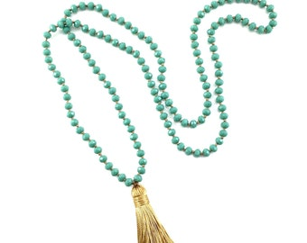 Hand-knotted Beaded Tassel Necklace - Turquoise and Gold