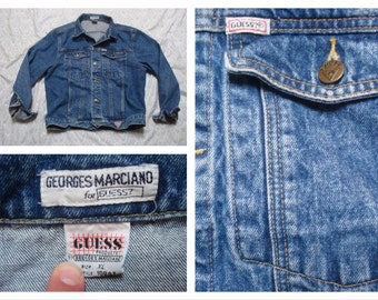 Vintage Retro Men's Guess Georges Marciano Jean Jacket Indigo Blue Denim Jacket XL