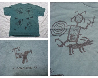 Vintage Retro Men's 90's T-shirt Tucson Southwest Kokopelli Tshirt Silk Screen Short Sleeve Large Made in the USA
