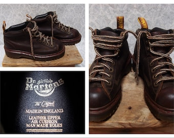 Vintage Retro Men's Doc Martens DR Martens Brown Leather Ankle Boots Mens size 4 Womens size 6 Made in England