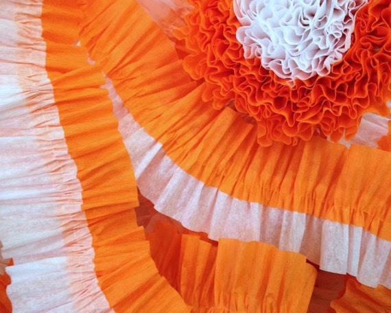 Orange and White Ruffled Crepe Paper Streamers - 36 Feet - Party Decor Garland Hanging Decoration Supplies