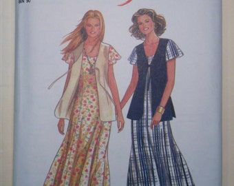 New Look easy sewing pattern Misses zipper back dress and hip length tie front vest pattern sizes 8 - 18 included UNCUT
