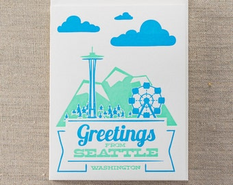 Greetings from Seattle Letterpress Greeting Card