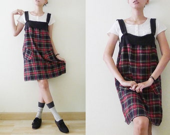 Vtg Black And Red Tartan School Uniform Dresssleeveless Mini