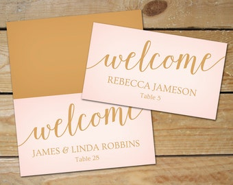 Blush Pink Wedding Place Cards Printable // Editable Wedding Name Cards // Caramel Gold and Pink Place Cards, Instant Download