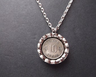 Aurar Island Coin Necklace - Aurar Island Coin Pendant in  Bottle Cap Pendant Tray