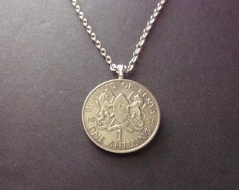 Kenya One Shilling Necklace -1971  Republic of Kenya Coin Pendant Coat of Arms