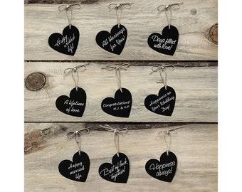 black paper hearts chalkboard effect