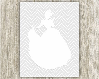 Princess Printable, White Gray Nursery Decor, 8x10 Instant Download, Girl Nursery Art, Princess Art Print, Princess Wall Art, Girls Room