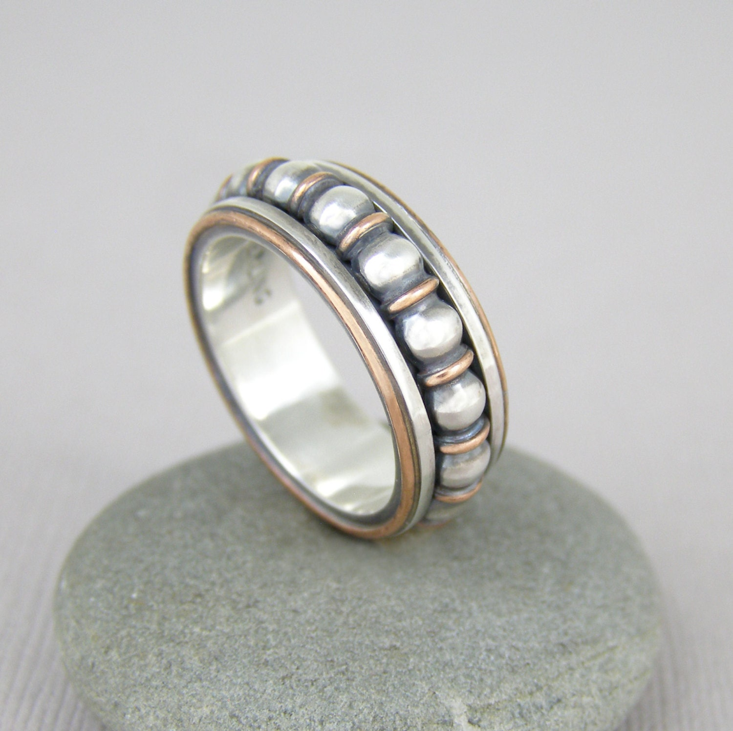 silver spinner ring wedding ring sterling silver and