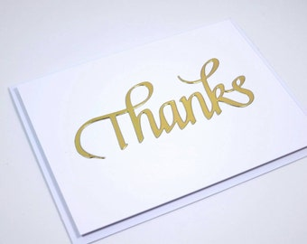 Gold Inlaid Thank You Note, Thank You Notecards, Thank You Cards