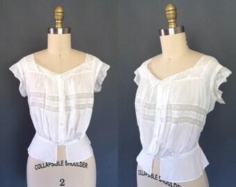 Clara camisole | Edwardian 1900s lace blouse | antique La Belle Epoque pouter pigeon camisol