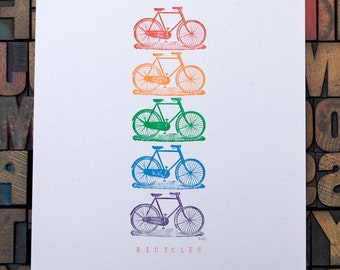 Bicycle Print - bike art - Rainbow colour - Letterpress  Print - Cycling Print  - Gift for Cyclist - Print for Cyclist - home decor