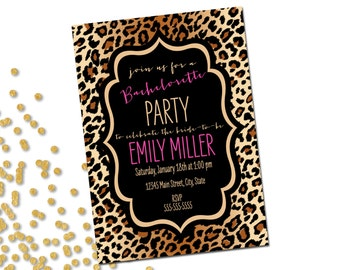 Animal Print Bachelorette Party Invitation - Brown Cheetah Leopard Print with Pink Accents - Printable