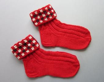Red Wool Socks For Womens Hand Knit Wool Socks
