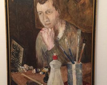 Unsigned Mid Century Modern Self Portrait Original Oil Acrylic Painting