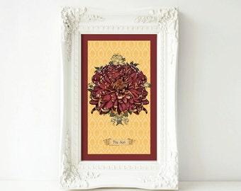 11 x 17 print-The Sun (Chrysanthemum)— Large Print from Floriography Tarot