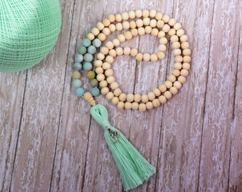 108 Mala Bead, Mala Bead, Mala Necklace, Tassel Bead Necklace, Bohemian Tassel Necklace, Buddhist Jewelry,Wood Bead Necklace, Gemstone Mala