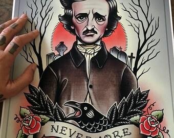 Edgar Allan Poe  Flash Art Print