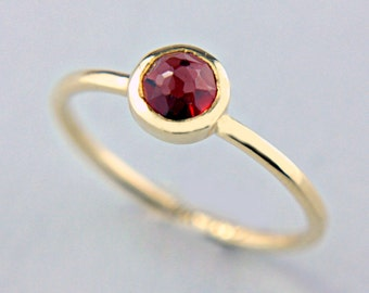 Red Garnet Gold Ring 14k Rose Cut Garnet Engagement Ring Red Rose Cut Garnet Gold Ring Size 7 Yellow Gold Garnet Ring
