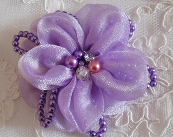Lager Handmade Organza Flower  (3-1/2 inches) in Lavender MY-405-06  Ready To Ship