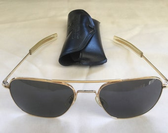 Vintage Aviator FG-58 Pilots Sun Glasses by American Optical in Original Case
